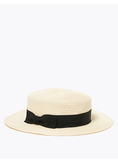 Marks & Spencer Fiyonk Detaylı Hasır Şapka Bej